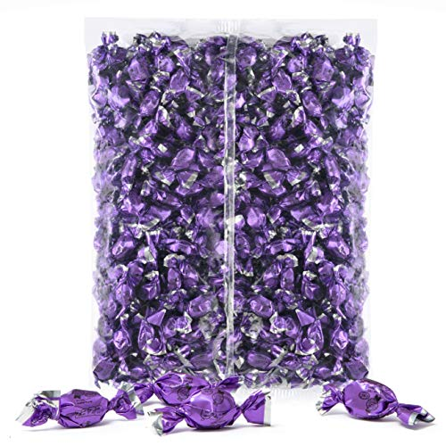 Color Themed Hard Candy - 21-Ounce Bag of Purple Color Foil Mini Candies Individually Wrapped Grape Fruit-Filled Flavored Candy (Kosher, NET WT 600g, About 310 Pieces)