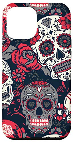 iPhone 12 Pro Max Trendy Day of Dead Red Sugar Skulls Phone Case