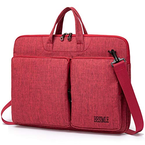 BESIMLE 15 15.6 Inch Laptop Shoulder Messenger Bag, Waterproof Lightweight Slim Water-Resistant Notebook Tablet Ultrabooks Laptop Carrying Case Briefcase Cover Sleeve for Men Women Red