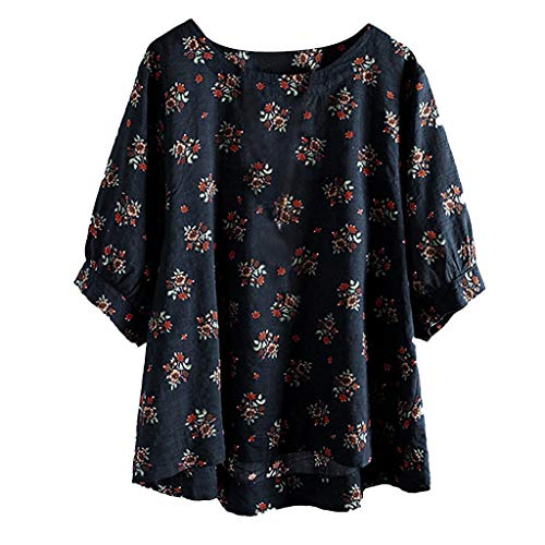 HOMEBABY Plus Size Womens Katoen Linnen Halve Mouw Tuniek Top Dames Boho Bloemen Losse Klassieke Lente Winter Baggy Blouse Mode Sweatshirt T-Shirt