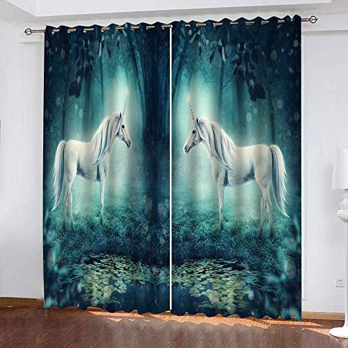fgjorics Tende per Finestre della Camera da Letto Foresta Unicorno Tende Stampate Decorative per La Casa Tende Oscuranti Tende Termoisolanti per Camera da Letto dei Ragazzi 250 (H) X140 (L) Cmx2