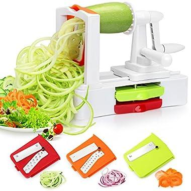 Folksmate Spiralizer Vegetable Slicer, Vegetable Spiralizer with Strong Stainless Steel Spiral 3-Blade, Best Veggie Pasta Spaghetti Make for Low Carb/Paleo/Gluten-Free