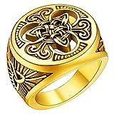 Mens Retro Celtic Knot Signet Ring 18K Gold...