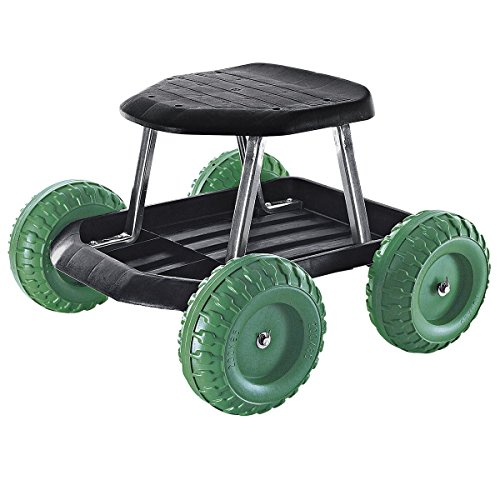TRI Rollsitz, fahrbare Sitzgelegenheit Gartengerät mobiler Gartensitz Gartenwagen Gartenhelfer Rollwagen, 49 x 33 x 47 cm