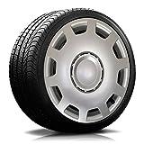 Autoteppich Stylers (Farbe & Größe wählbar) 14 Zoll Radkappen Granit Silber passend für Fast alle gängingen Fahrzeuge (universal)