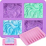 ETEKYER Soap Molds, Silicone Soap Molds with Soap Dish, Ocean Wave Soap Molds for Soap Making, Soap Making Molds for Handmade Soap, Soap Bar Mold with Soap Holder, DIY Soap Mold for Goat Milk Soap