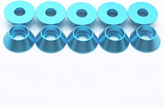 50PCS M5 Cone Washer Aluminum Alloy Cone Cup Head Screw Gasket Conical Countersunk Fender Washer (Blue)