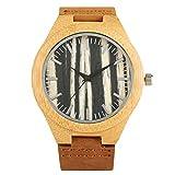 FANSWD Reloj de Madera Hombre Moda Retro Madera de bambú Banda de Cuero Reloj de Cuarzo paraReloj Regalos MasculinosEstilo analógico Reloj de bambú Natural Hombres y MujeresDeporte Creativo