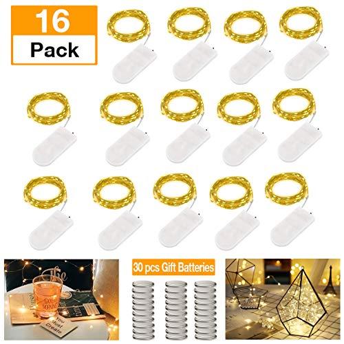 Lichterkette 16 Stück mit 30pcs Batterie LED Micro Lichterkette Drahtlichterkette Batterie-betrieben Silberdraht Warmwei? 2M 20LEDs Wasserdicht String Fairy Light Batterie Weihnachtsbeleuchtung