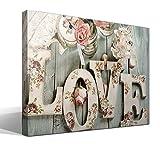 cuadrosfamosos.es Canvas Lienzo Bastidor Love Estilo Vintage - 55 cm x 40 cm - Fabricado en España
