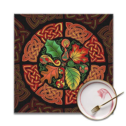 SHJXIAN Celtic Pagan Fall Harvest Autumn Vintage Themed Dinnerware 4 Piece Pc Set of Square Placemats Party Decor Dining Room Home Ornament Table Food Dishes Mat Xmas Kitchen Dishware Decorations