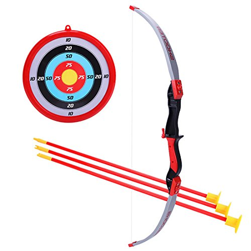 ReallyPow Pfeil und Bogen Set, Bogenschießen Set mit 3 Pfeilen, 1 Ziel, Pfeilbogen Set für Kinder - Rot