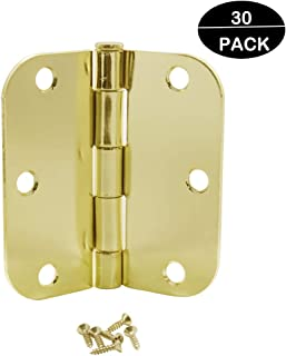 """Probrico (30 Pack) Door Hinges Polished Brass - 3 ½"""" x 3 ½"""" Inch with 5/8"""