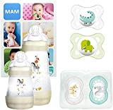 New Design: MAM First Steps Set, regalos para bebé (+0), canastilla con 2 biberones anticólicos Easy Start (160/260 ml) y 4 chupetes Original de silicona (2 x 0-2/2 x +6 meses), Gris (UNISEX)