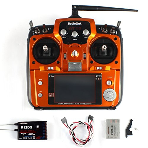 Radiolink AT10 II 2.4Ghz 12CH 12 Channel Remote Controller System Radio Transmitter & R12DS Receiver PRM-01 Voltage Return Module for DIY FPV RC Helicopter Quadcopter Drone (Orange)