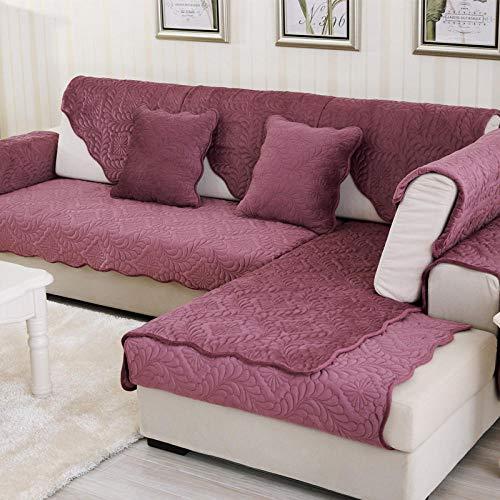 Suuki Couch schonbezug,schonbezüge für Sofa,sofaschoner ecksofa,Couch überwurf,L-förmiger Sofarettbezug,Blumen-Steppcouch,kurzer,Rutschfester Plüschbezug,Eck-Ledercouchbezüge-Lila_110 * 180 cm