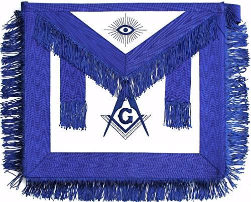 Regalia Craft Masonic Blue Lodge Embroidered Square Compas Master Mason Apron with Fringe Faux Leather