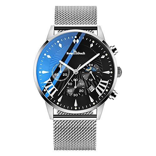 MICGIGI Reloj de Pulsera analógico de Cuarzo para Hombre con Correa de Malla de Acero Inoxidable Resistente al Agua