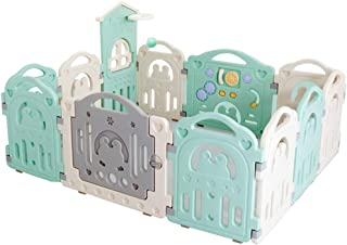 SXXDERTY-playard Baby Playpen Castle fence with Colorful Panels  Upgraded Safety Lock  Changeable into Octagon  Rectangle  Square  Triangle Infant  amp  Toddlers Activity Center