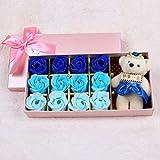 DPKALD Ideas Enviar a su Novia 12 Rosas Ramo de Rosas Ramo de jabón Caja de Regalo,Azul