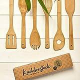 bambuswald©Juego con 6 Utensilios de cocina: 100% bambú | Cucharas de cocina – Cucharón – Espátula – Tenedor – Paleta | Menaje de cocina - Accesorios para cocinar - Residuo Cero