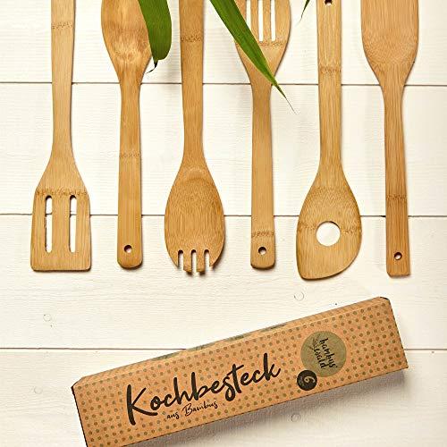 bambuswald© plastikfreies & umweltfreundliches Küchenhelfer Set (6 Stück) aus 100% Bambus | Küchenlöffel z.B. Rührkelle Suppenkelle Nudelschöpfer Kochlöffel-Set Küchenutensilien Salatbesteck Löffel