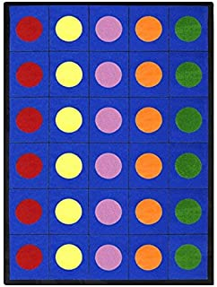 Joy Carpets Kid Essentials Early Childhood Lots of Dots Rug, Multicolored, 7'8