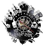 My Kitchen My Role Mute Modern Vinyl Record Orologio da Parete Strumenti di Cottura Tavolo da Parete Nero Ristorante Art Deco Gift for Chef