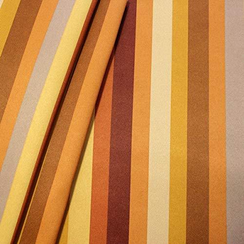 STOFFKONTOR Verdunkelungsstoff Thermo Vorhangstoff Dim Out Streifen Mix Meterware Gelb-Orange