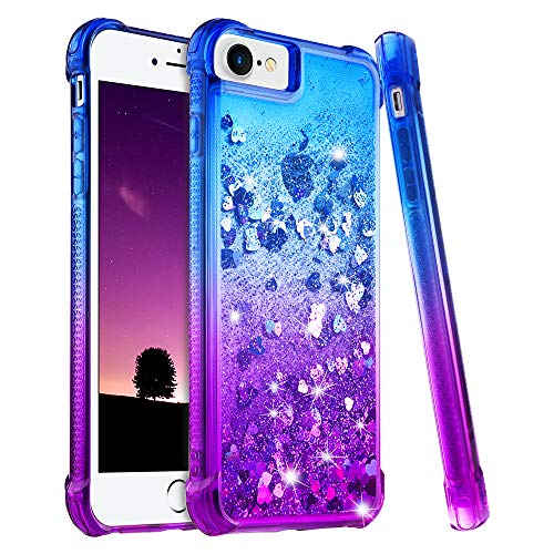 Ruky iPhone 6 6S 7 8 Case, iPhone SE 2020 Case, iPhone 6s Glitter Case, Gradient Quicksand Series Bling Flowing Liquid Floating Girls Women Phone Case for iPhone 6/6s/7/8/SE 2020 4.7