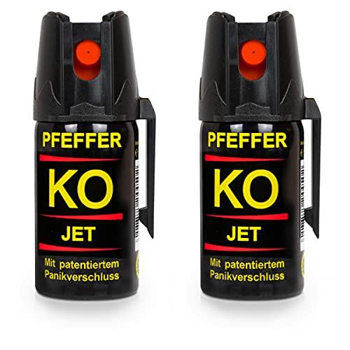 Buyemo Pfefferspray KO Jet 40ml oder 50ml | Abwehrspray Verteidigungsspray | Familiensets 2er/ 3er Sets (40ml, 2er Set)