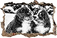 KAIASH ウォールステッカー 雪の中のモノクロームベルネルセンネン犬の子犬3Dルックの壁の開口部壁またはドアのステッカー壁のステッカー壁のデカール壁の装飾92x62cm