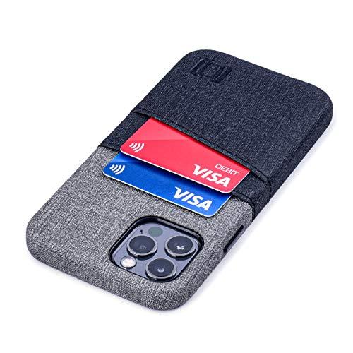 Dockem iPhone 12 und iPhone 12 Pro Handyhülle mit Kartenfach: Wallet Handytasche mit Integrierter Metallplatte für Magnet-Halterung [Luxe M2, Schwarz/Grau]