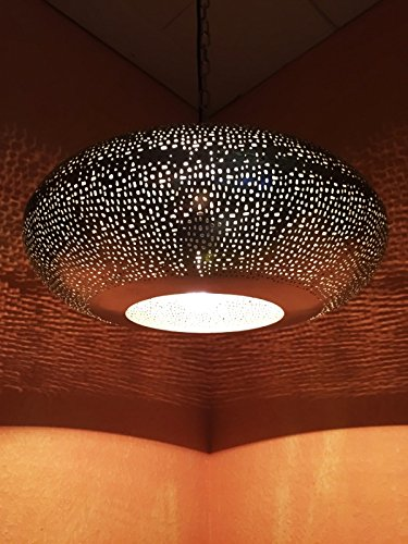 Orientalische Lampe Pendelleuchte Silber Qytura 42cm E27 Lampenfassung | Marokkanische Design Hängeleuchte Leuchte aus Indien | Orient Lampen für Wohnzimmer, Küche oder Hängend über den Esstisch