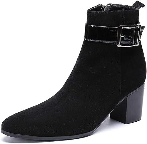 Rui Landed botas de Tobillo para Hombre botas de Montar Superiores Superiores Estilo de Deslizamiento en el Estilo Cuero Genuino Delicado Cremallera Lateral Hebilla de Metal decorac
