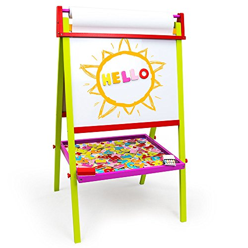 Little Artists 3in1 Standing Easel | Includes 75 Magnetic Letters Rainbow Chalk Eraser and Easel Paper | Wooden Wonders Kids Creative Art Drawing Board | Art Class and School Teacher Activity
