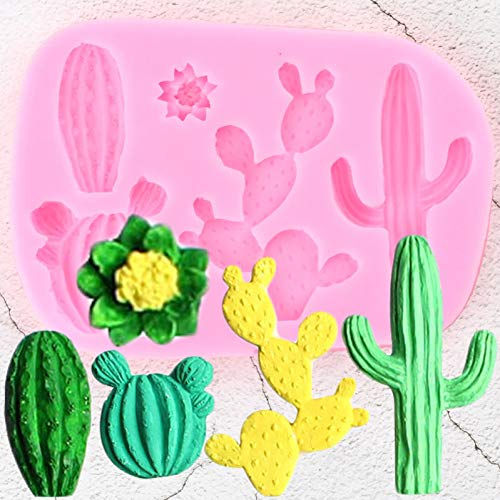 ZZYOU Cactus Plant Silicone Molds Succulents Flower Cupcake Topper Fondant Cake Decorating Tools Candy Clay Chocolate Gumpaste Moulds
