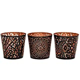 Set of Three Uniquely Crafted Metal Votive &...