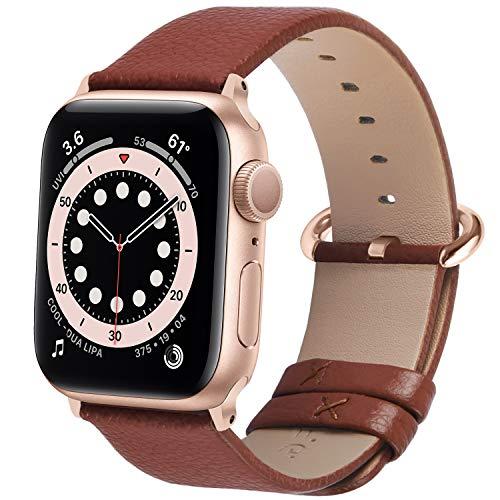 Fullmosa Correa de Apple Watch, 38 mm 40 mm 42 mm 44 mm Correa Compatible con iWatch, Correa de Cuero, Compatible con Apple Watch SE y Serie 6 5 4 3 2 1, Marrón + Hebilla de Oro Rosa, 42mm/44mm