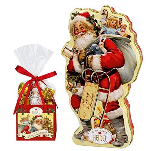 Heidel Weihnachtsset | Nostalgie Weihnachtsmann Schmuckdose | Nostalgie Weihnachtstäschchen
