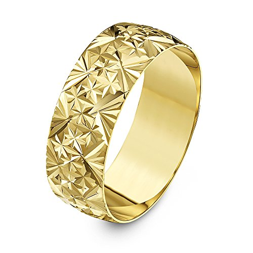 Theia Unisex Heavy Weight 7 mm D Shape with Diamond Like Design 9 ct Yellow Gold Wedding Ring - R