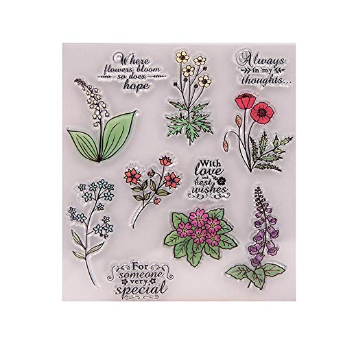 5.3 by 5.9 Inches Flower Love Letters Leaves Clear Rubber Stamps for Scrapbooking Card Making Christmas Valentine's Day Stamps