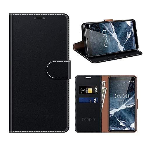 coodio Custodia Nokia 5 2018, Custodia in Pelle Rugged Nokia 5.1, Custodia Portafoglio Cover Porta Carte Chiusura Magnetica per Nokia 5.1 / Nokia 5 2018, Nero
