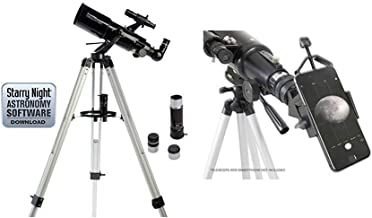Celestron 21087 PowerSeeker 80AZS Telescope (Black) with Basic Smartphone Adapter 1.25
