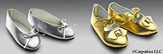 Gold and Silver Princess Doll Shoes for 18 inch Slim Carpatina or AGFAT dolls