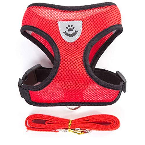 Artshu 1pcs Breathable Mesh Small Dog Pet Harness and Leash Set Puppy Cat Vest Harness Collar for Chihuahua Pug Bulldog Cat arnes perro (M(2.5-4KG), Red)