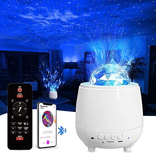 Galaxy Projector 360 Rotating with Bluetooth Speaker, Ocean Wave Star Night Light Laser Projector,...
