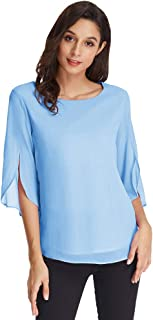 GRACE KARIN Damen Sommer Bluse Langarm Chiffon Rundhals Shirt Casual Sommer Tops CLAF15