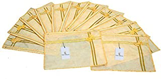 Kuber Industries™ Printed Non Wooven Single Saree Cover Set of 12 Pcs Yellow (with Zip Lock)