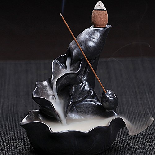OCIOLI Ceramic Incense Burner Backflow Cones Sticks Holder Porcelain Lotus Pond Censer with 10 Free Cones Sets(Black)